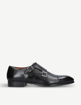 SANTONI Simon leather double monk shoes