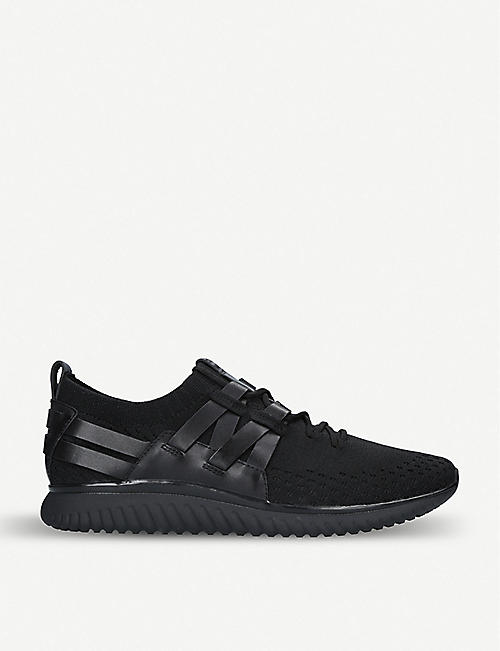 COLE HAAN: Grand Motion Runner knit and leather trainers