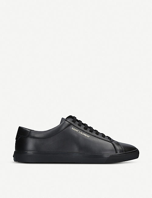 SAINT LAURENT: Andy logo-print leather trainers