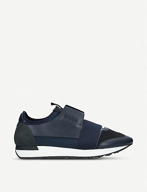 dace547e6fc0b BALENCIAGA - Race Runners leather and mesh trainers