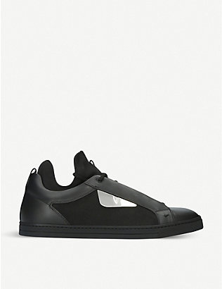 FENDI: Monster leather and knitted neoprene trainers
