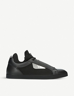 FENDI Monster leather and knitted neoprene trainers