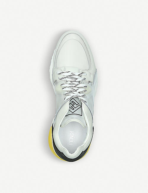 FENDI Panelled leather trainers