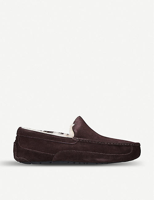 UGG: Ascot suede and fleece slippers