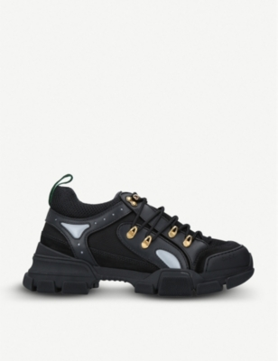 GUCCI Flashtrek leather, suede and canvas trainers
