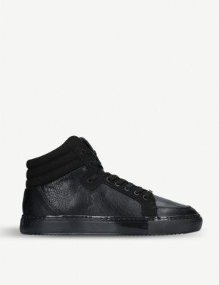 KURT GEIGER LONDON Stanley faux-leather hi-top trainers