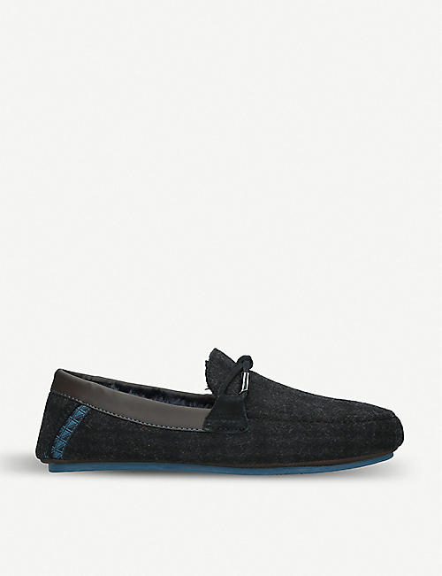 TED BAKER Pytre wool and leather-trimmed loafers