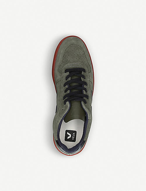 VEJA V-10 suede and leather low-top trainers