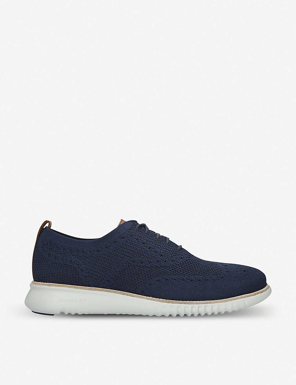 COLE HAAN: 2.ZERØGRAND Stitchlite Oxford leather and knit lace-up shoes