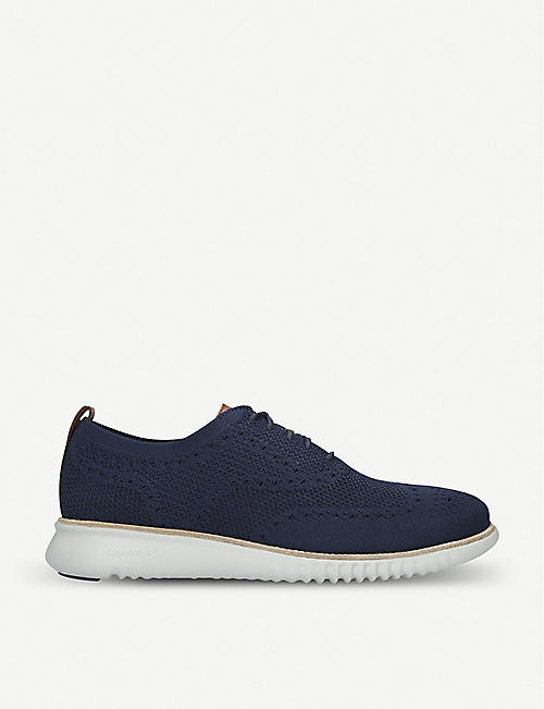 COLE HAAN 2.ZERØGRAND Stitchlite Oxford leather and knit lace-up shoes