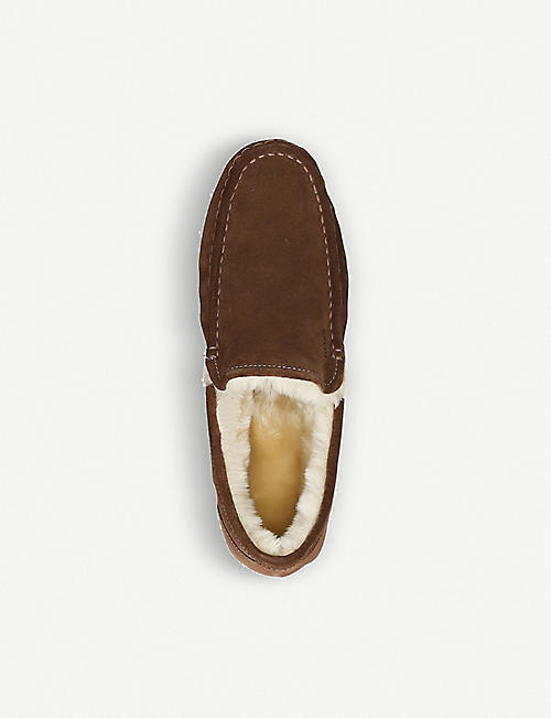 BOSS Faux-fur lined suede loafers