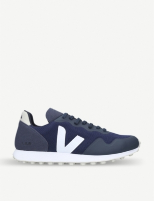 VEJA Contrast-panel suede and mesh trainers