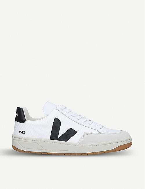 VEJA V-12 B leather and mesh trainers