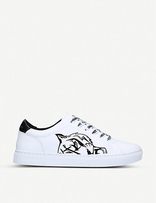 PHILIPP PLEIN SPORTS Thunderstorm leather tennis trainers
