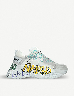 NAKED WOLFE Titan graffiti-print leather and mesh trainers