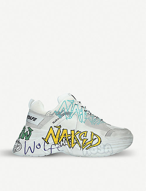 NAKED WOLFE: Titan graffiti-print leather and mesh trainers