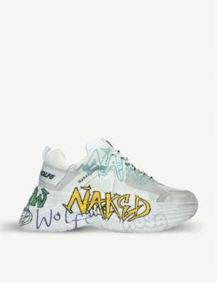 NAKED WOLFE Titan Graffiti leather and mesh trainers