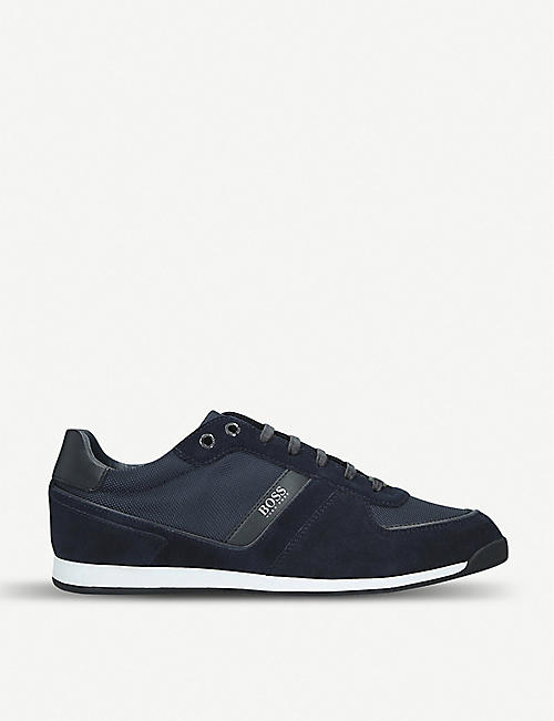 BOSS Maze suede and mesh trainers