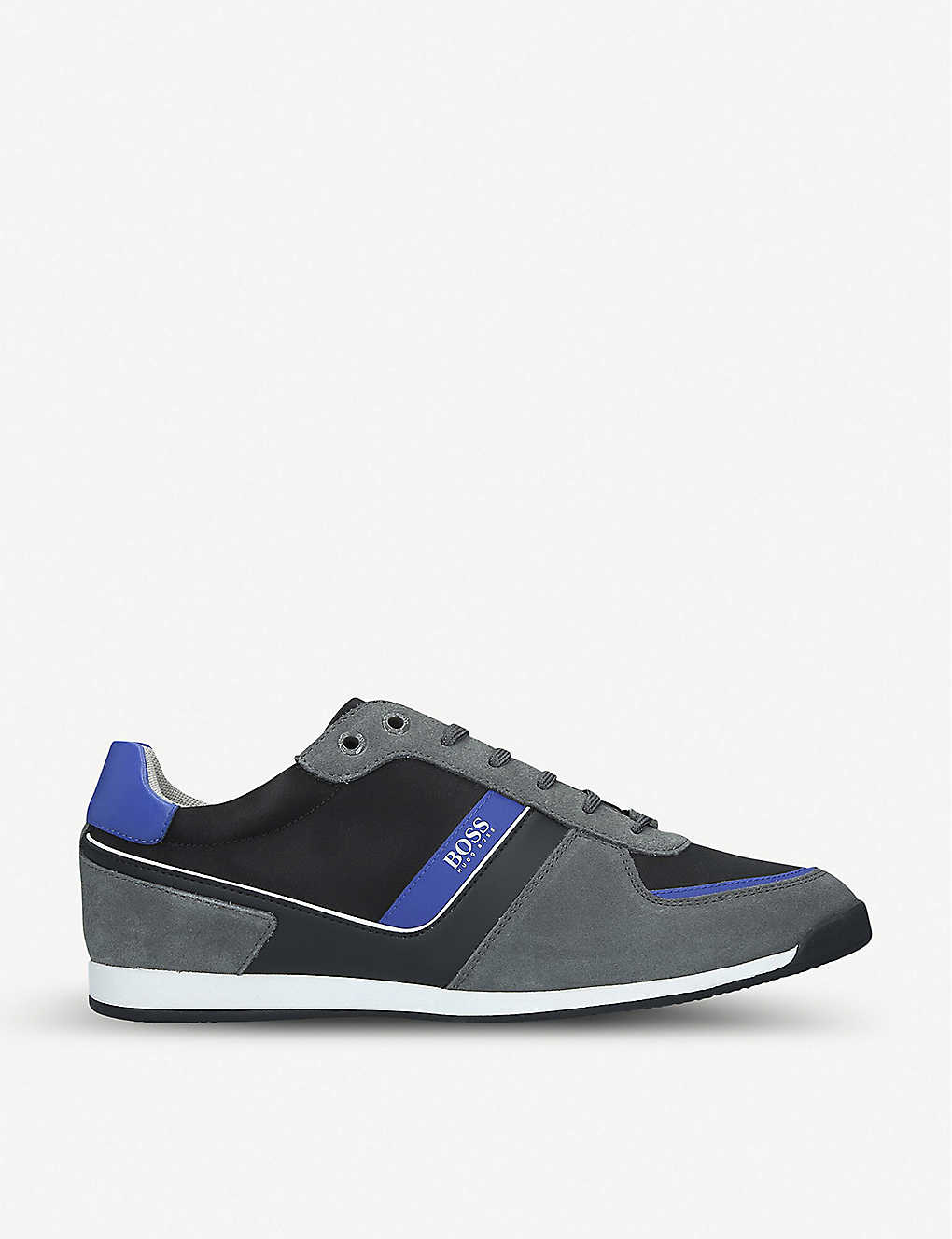BOSS BY HUGO BOSS: Maze suede, leather and mesh trainers
