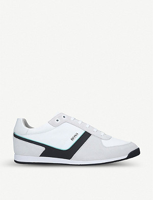 BOSS BY HUGO BOSS Maze suede, leather and mesh trainers