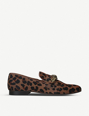 KURT GEIGER LONDON Chelsea leopard-print haircalf leather loafers