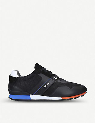 BOSS BY HUGO BOSS: Parkour leather, suede and mesh trainers