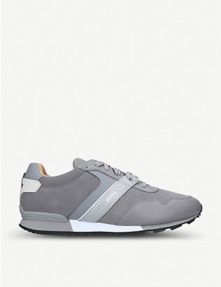 BOSS BY HUGO BOSS: Parkour mixed leather and nylon trainers