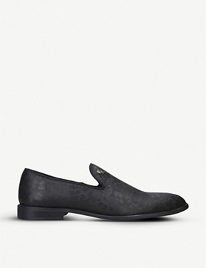 KURT GEIGER LONDON Luca hounds-tooth textile loafers