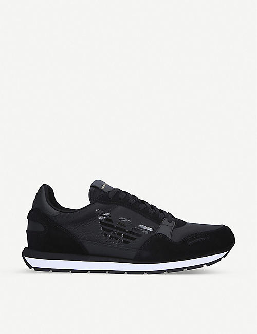 ARMANI Zone suede and nylon trainers