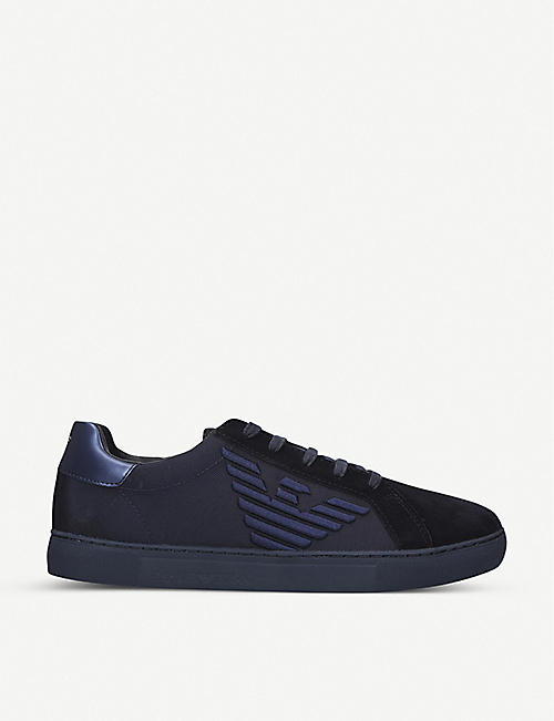 ARMANI Stan suede and textile trainers
