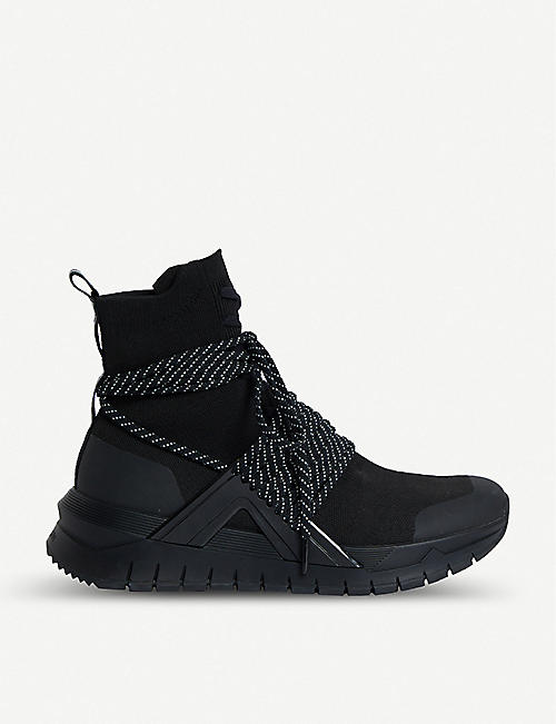BALMAIN Troop Lace leather and mesh trainers