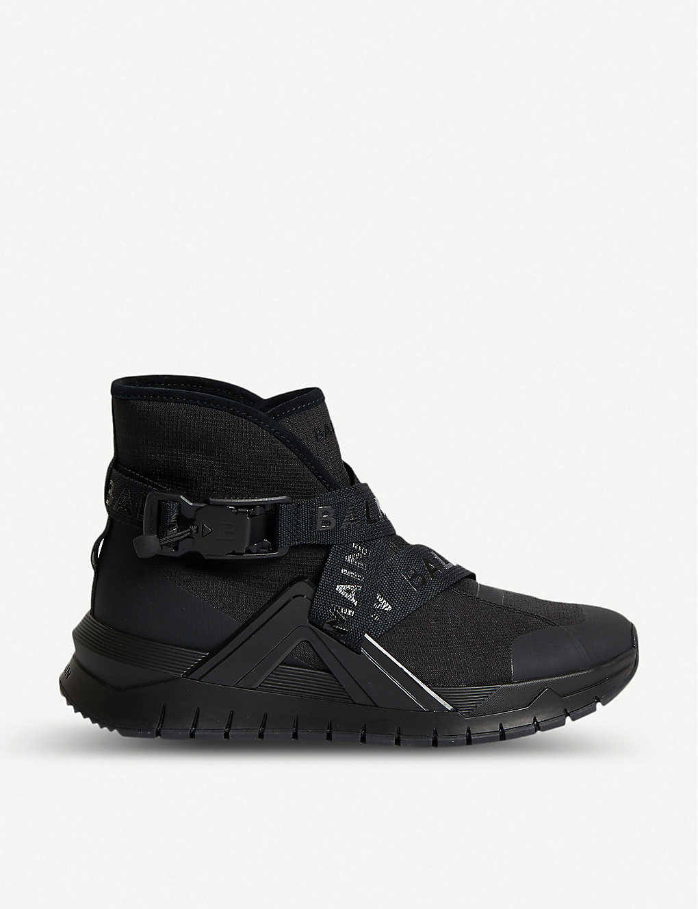 BALMAIN: Troop Strap leather and mesh trainers