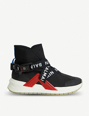 BALMAIN Troop Strap leather and mesh trainers