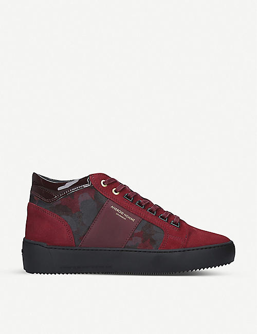 ANDRIOD Propulsion camouflage-print suede mid trainers