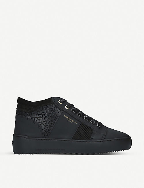 ANDRIOD Mid Propulsion rubber, suede and mesh trainers