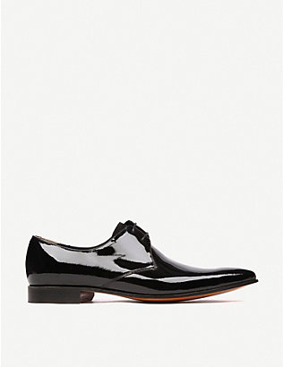 BARKER: Goldington patent Derby shoes