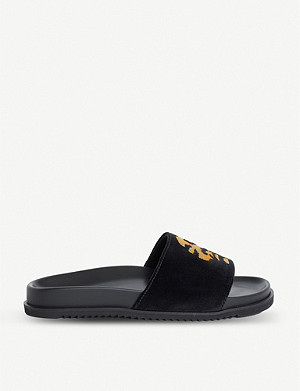 DUKE & DEXTER Duke & Dexter x Snoop Dogg Dexter embroidered velvet sliders
