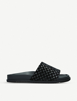 DUKE & DEXTER Duke & Dexter x Snoop Dogg Dexter leaf-print velvet sliders
