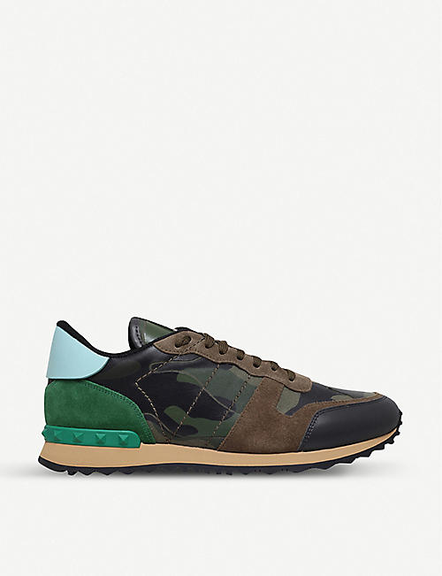 0cf68873c3c1d VALENTINO Rockrunner leather and suede trainers