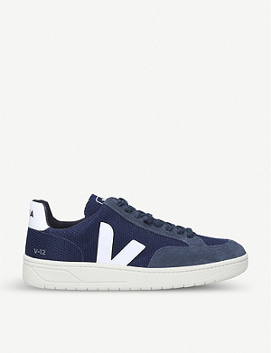 VEJA V-12 suede and mesh trainers