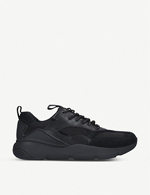 COLE HAAN ZERØGRAND leather, mesh and suede trainers