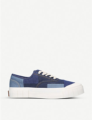 GOOD NEWS: Slider denim low-top trainers