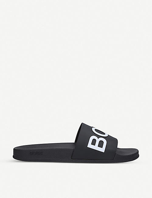 BOSS: Coral logo-print sliders
