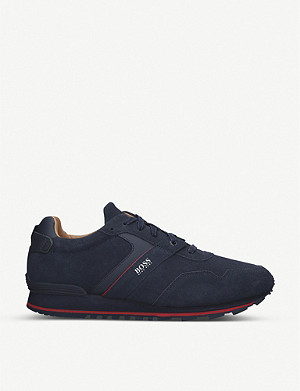 BOSS Parkour panel suede trainers