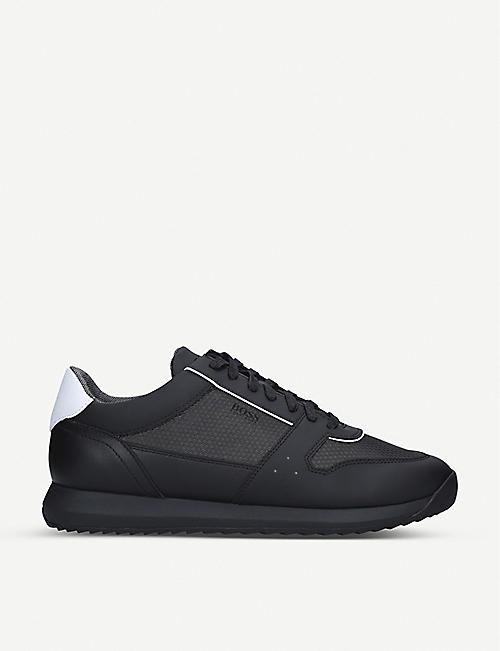 BOSS Sonic leather and mesh trainers
