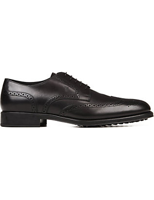 TODS: Perforated brushed-leather Derby shoes