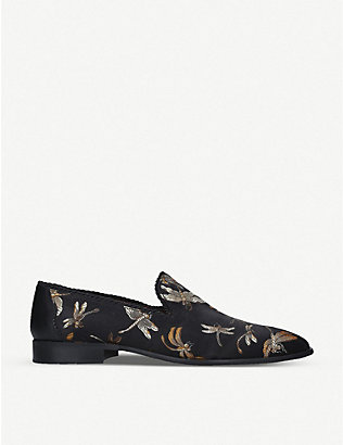 KG KURT GEIGER: Squire floral-print slip-on loafers