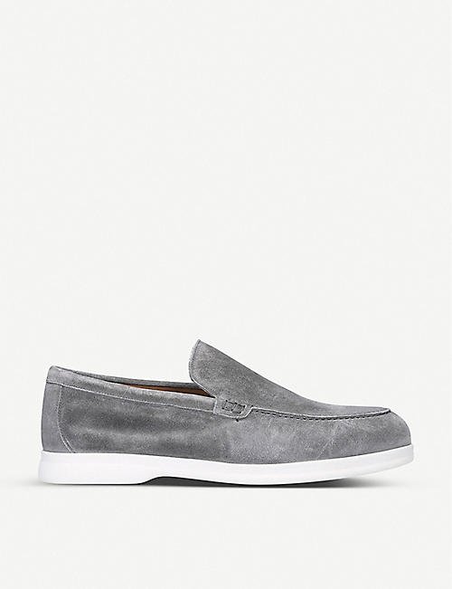 DOUCALS: Light suede penny loafers