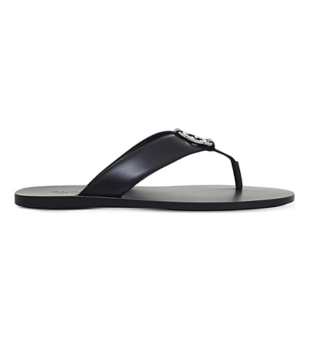 4b562ad9d GUCCI Leather logo sandals (Black