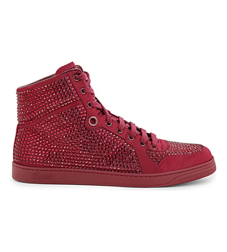 b0e1697244d2 GUCCI Coda bling leather high-top trainers (Red